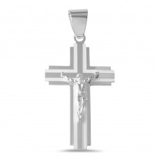 Sterling Silver High Polished Stripe Cross Pendant - BSP00007