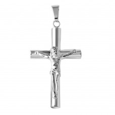 Sterling Silver High Polished Small Cylinder Cross Pendant - BSP00017SM
