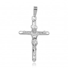 Sterling Silver High Polished Crucifix Pendant  - BSP00019