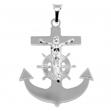 Sterling Silver Rhodium Plated Anchor Cross Pendant - BSP00035
