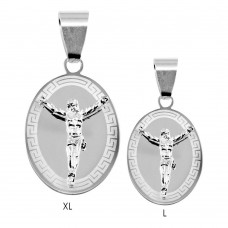Wholesale Sterling Silver 925 High Polished Celtic Border Oval Crucifix Medallion Pendant - BSP00039