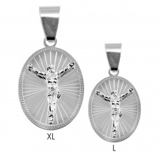 Wholesale Sterling Silver 925 High Polished DC Border Oval Crucifix Medallion Pendant - BSP00041