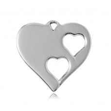 Sterling Silver Rhodium Plated Heart Charm With 2 Cut Out Inner Hearts - HRT06