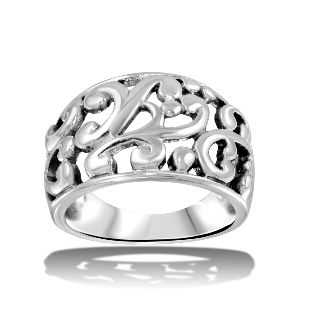 Wholesale Sterling Silver 925 High Polished Old-Fashioned Dome Ring - CR00714