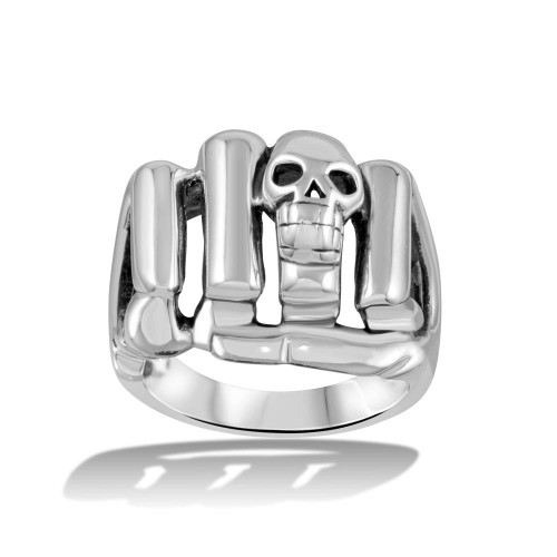 Wholesale Sterling Silver 925 High Polished Skull Fist Ring - CR00715