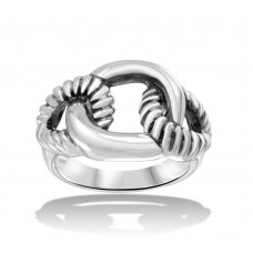 Wholesale Sterling Silver 925 High Polished Linked Rope Ring - CR00716