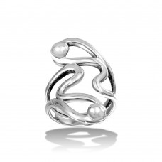 Wholesale Sterling Silver 925 High Polished Abstract Wrap Ring - CR00717