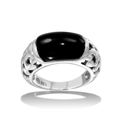 Wholesale Sterling Silver 925 High Polished Black Stone Ring - CR00719