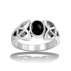 Wholesale Sterling Silver 925 High Polished Black Oval Stone Ring - CR00725