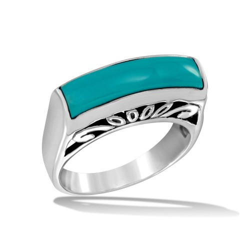 Wholesale Sterling Silver 925 High Polished Rectangular Turquoise Stone Ring - CR00727