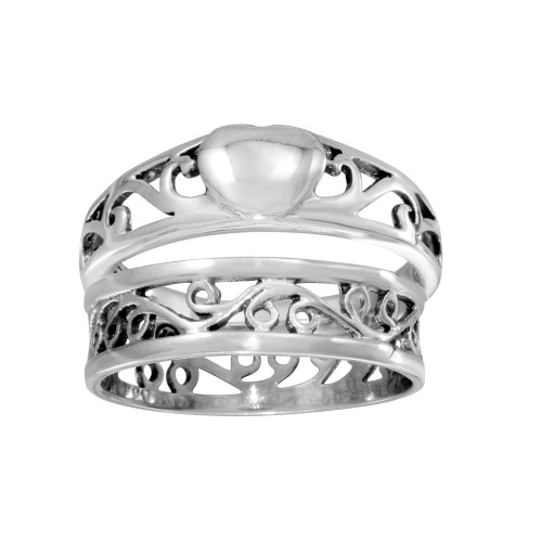 Wholesale Sterling Silver 925 High Polished Stackable Heart and Waves Ring 2 Pc. Set - CR00733