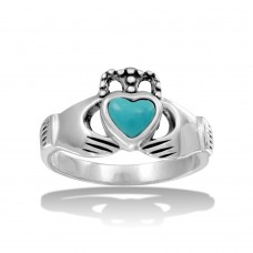 Wholesale Sterling Silver 925 High Polished Claddagh Ring with Turquoise Heart - CR00734TRQ