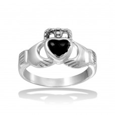 Wholesale Sterling Silver 925 High Polished Claddagh Ring with Black Heart - CR00734BLK