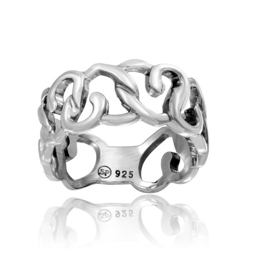 Wholesale Sterling Silver 925 High Polished Linked Hearts Ring - CR00735