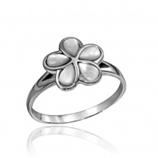 Wholesale Sterling Silver 925 High Polished Flower Ring with Clear Stones - CR00739