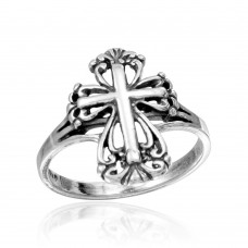 Wholesale Sterling Silver 925 Rhodium Plated Cross Ring - CR00740
