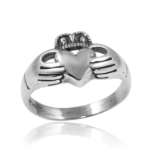 Wholesale Sterling Silver 925 High Polished Claddagh Ring - CR00745