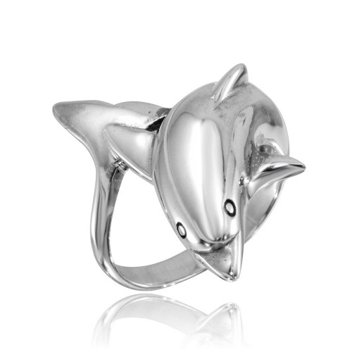 Wholesale Sterling Silver 925 High Polished Dolphin Ring - CR00746