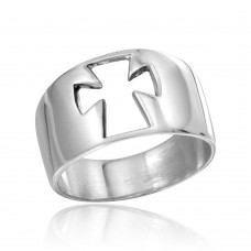 Wholesale Sterling Silver 925 High Polished Open Cross Ring - CR00754