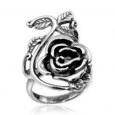 Wholesale Sterling Silver 925 High Polished Rose Ring - CR00755