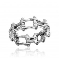 Wholesale Sterling Silver 925 High Polished Biker Chain Ring - CR00794
