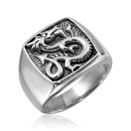Wholesale Sterling Silver 925 High Polished Square Dragon Ring - CR00797
