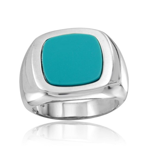 Wholesale Sterling Silver 925 High Polished Square Dome Ring with Flat Turquoise Stone - CR00802