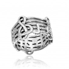 Wholesale Sterling Silver 925 High Polished Music Notes Ring - CR00804