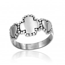 Wholesale Sterling Silver 925 High Polished Heart and Cross Ring - CR00807