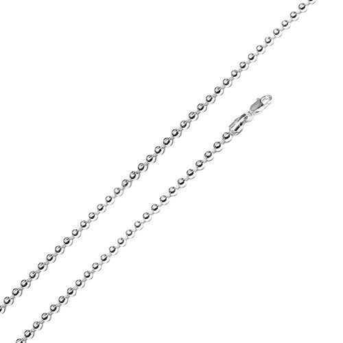 Wholesale Sterling Silver 925 Rhodium Plated Bead 300 Chain 3mm - CH114 RH