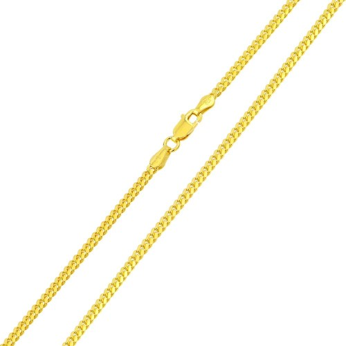 Wholesale Sterling Silver 925 Gold Plated Miami Curb Chain Link 3.4mm - CH340 GP