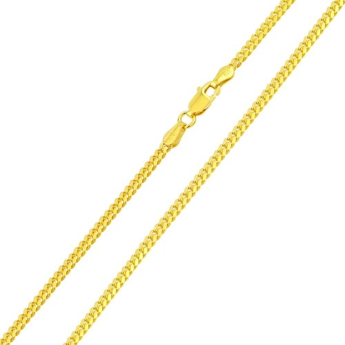 Wholesale Sterling Silver 925 Gold Plated Miami Curb Chain Link 4.1mm - CH341 GP