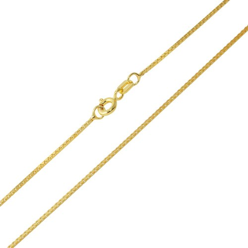 Wholesale Sterling Silver 925 Gold Plated Box DC Chain 1.0mm - CH344 GP