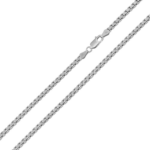 Wholesale Sterling Silver 925 Rhodium Plated Box 050 Chain 2.4mm - CH406 RH