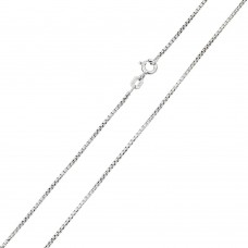 Wholesale Sterling Silver 925 Rhodium Plated Box Round Diamond Cut 019 Chain 1mm - CH208 RH
