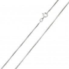 Wholesale Sterling Silver 925 Rhodium Plated Box Round DC Slash 024 Chains 1.2mm - CH211 RH