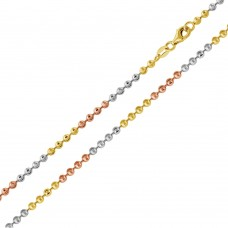 Wholesale Sterling Silver 925 Tri-Color Plated Wave Design Diamond Cut Bead 025 Chains 2.3mm - CH263 MUL