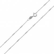 Wholesale Sterling Silver 925 Rhodium Plated DC Bar Link 1mm Chain - CH411 RH