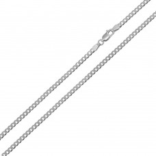 Wholesale Sterling Silver 925 Rhodium Plated Super Flat Curb 050 Chain 1.9mm - CH414 RH