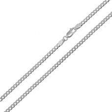 Wholesale Sterling Silver 925 Rhodium Plated Super Flat Curb 080 Chain 3mm - CH416 RH
