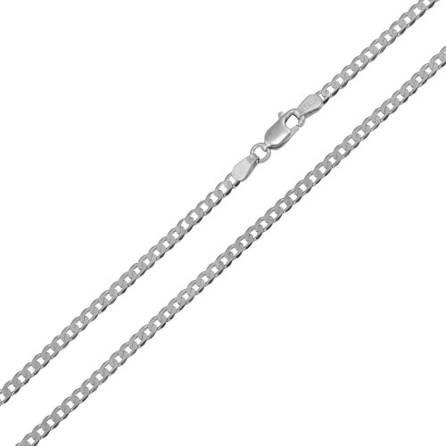 Wholesale Sterling Silver 925 Rhodium Plated Super Flat Curb 060 Chain 2.3mm - CH415 RH