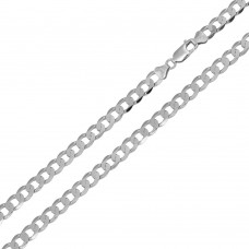 Wholesale Sterling Silver 925 Rhodium Plated Super Flat Curb 100 Chain 3.8mm - CH417 RH