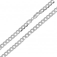 Wholesale Sterling Silver 925 Rhodium Plated Super Flat Curb 120 Chain 4.7mm - CH418 RH