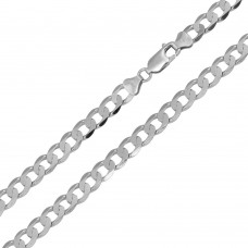Wholesale Sterling Silver 925 Rhodium Plated Super Flat Curb 180 Chain 6.6mm - CH419 RH