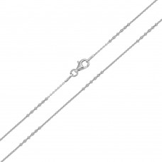Wholesale Sterling Silver 925 Rhodium Plated DC Beaded Link Chain 1.5mm - CH420 RH