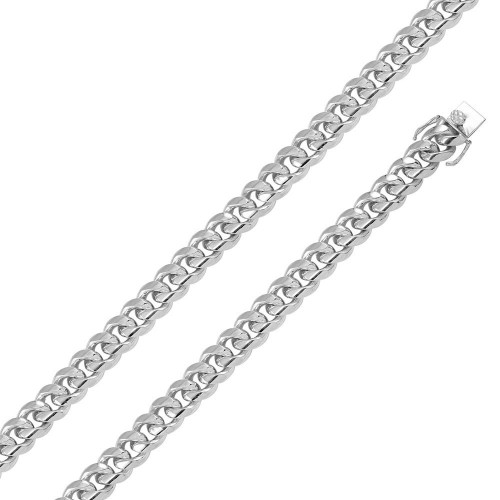Wholesale Sterling Silver 925 Rhodium Plated Miami Curb Chain 14.5mm - CH433 RH