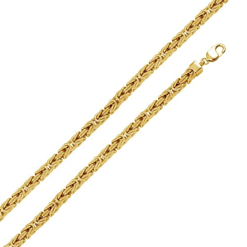 Wholesale Sterling Silver 925 Gold Plated Hollow Byzantine Chain 7mm - CHHW110 GP