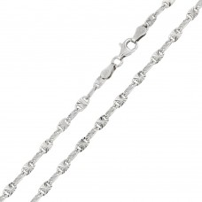 Wholesale Sterling Silver 925 Rhodium Plated Star Diamond Cut Confetti 065 Chain 3.3mm - CH122 RH