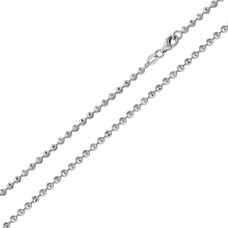 Wholesale Sterling Silver 925 Rhodium Plated Wave Design Diamond Cut Bead 002 Chains 2mm - CH101 RH