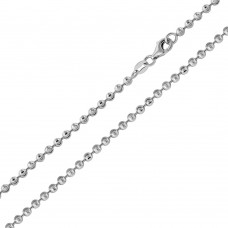 Wholesale Sterling Silver 925 Rhodium Plated Wave Design Diamond Cut Bead 025 Chains 2.3mm - CH102 RH